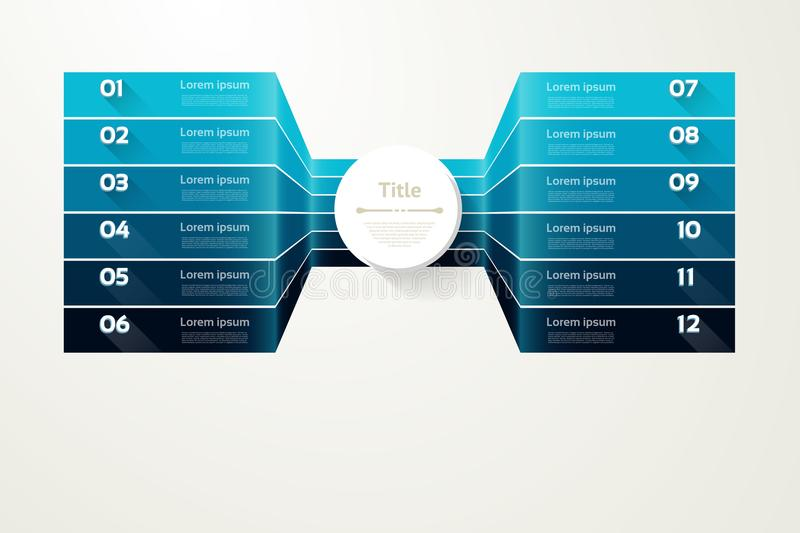 Vector progress background. Template for diagram, graph, presentation and chart. Business concept with 12 options, parts, steps vector illustration