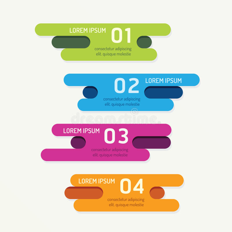 Vector progress banners with ribbon colorful tags. royalty free illustration