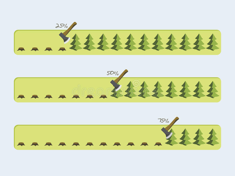 Vector progress bars with the loading of green tree. vector illustration