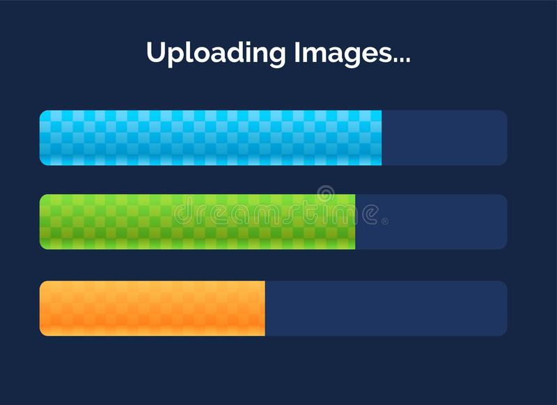 Vector progress loading bars with lighting isolated on dark background. Interface concept. vector illustration