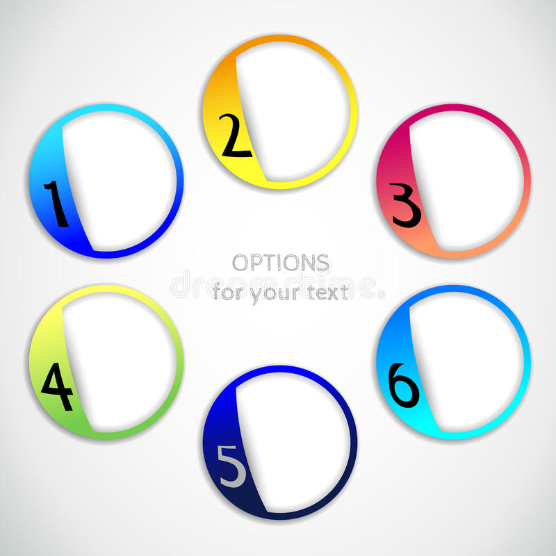 Vector progress options one, two, three, four, five, six options royalty free illustration