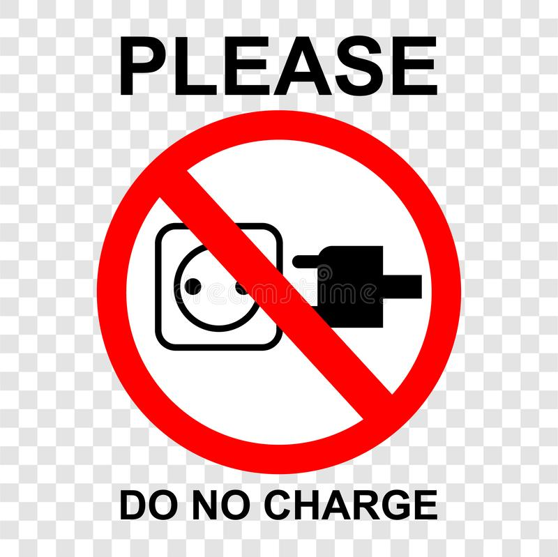 Simple vector prohibition sign, do not charge your gadget, at transparent effect background. Vector prohibition sign, do not charge your gadget, at transparent royalty free illustration