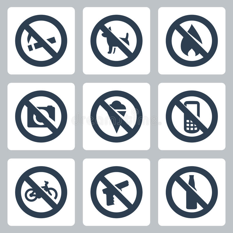 Vector prohibitory signs icons set royalty free illustration