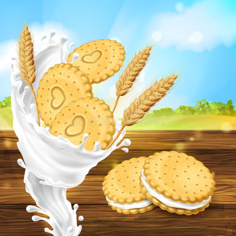 Vector promotion banner for milky cookies brand royalty free illustration