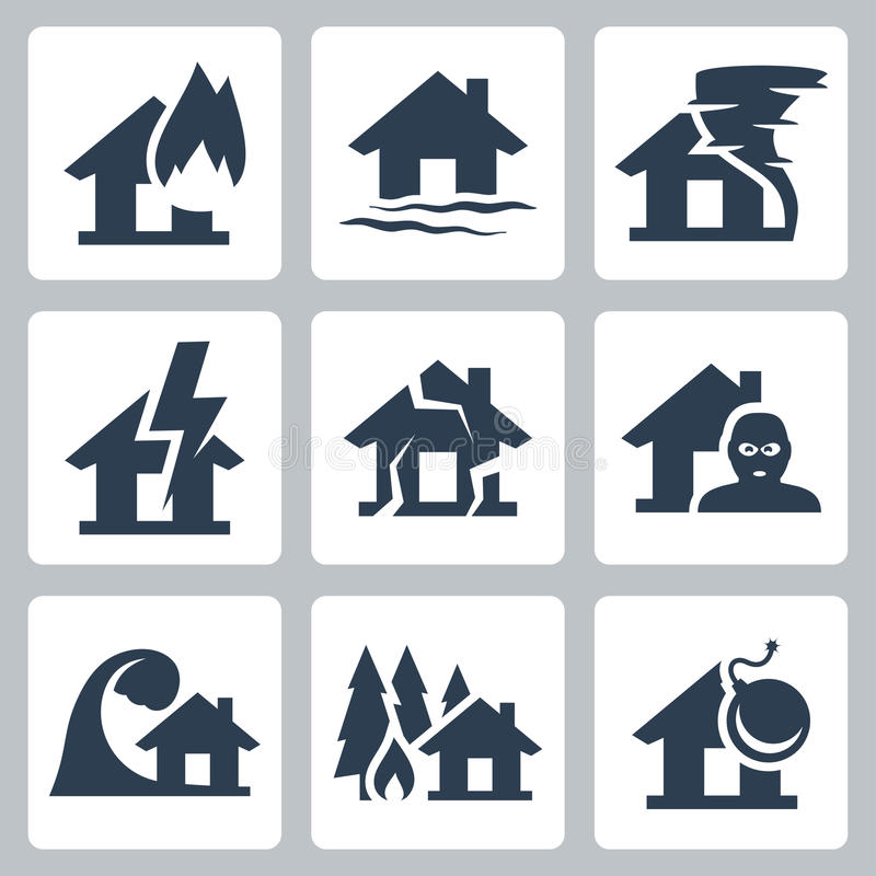 Vector property insurance icons royalty free illustration