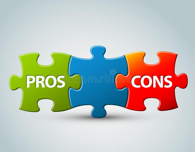 Vector pros and cons model illustration. Vector pros and cons compare model - advantages and disadvantages stock illustration
