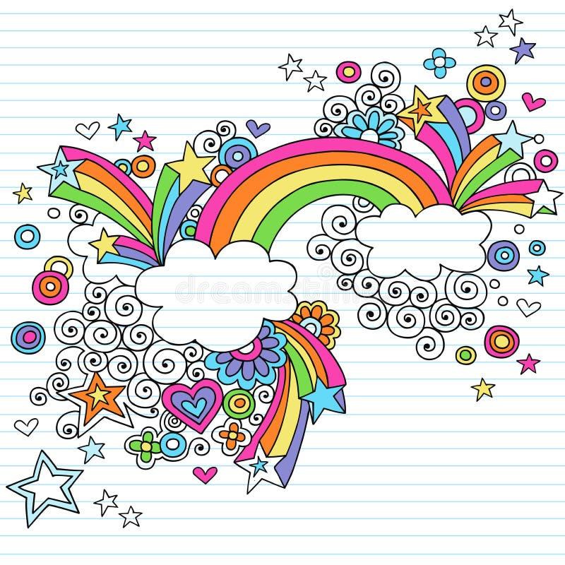 Vector psicodélico del Doodle del cuaderno del arco iris stock de ilustración