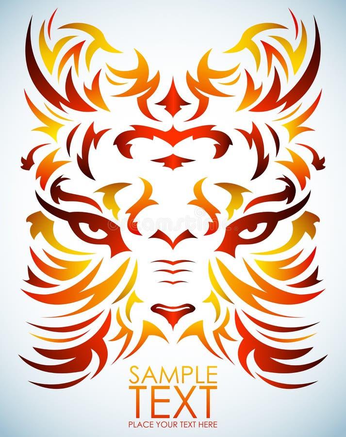 Vector psicodélico del tigre - tatuaje - ojos  ilustración del vector