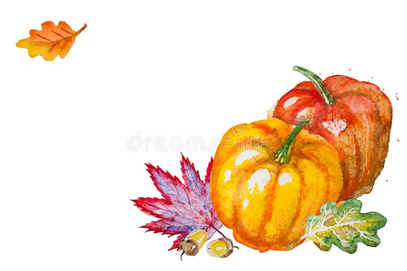 Vector pumpkin with autumn leaves vector illustration