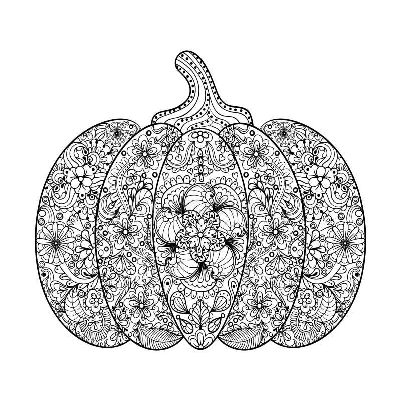 Vector Pumpkin illustration, Hand drawn vegetable in zentangle s stock illustration