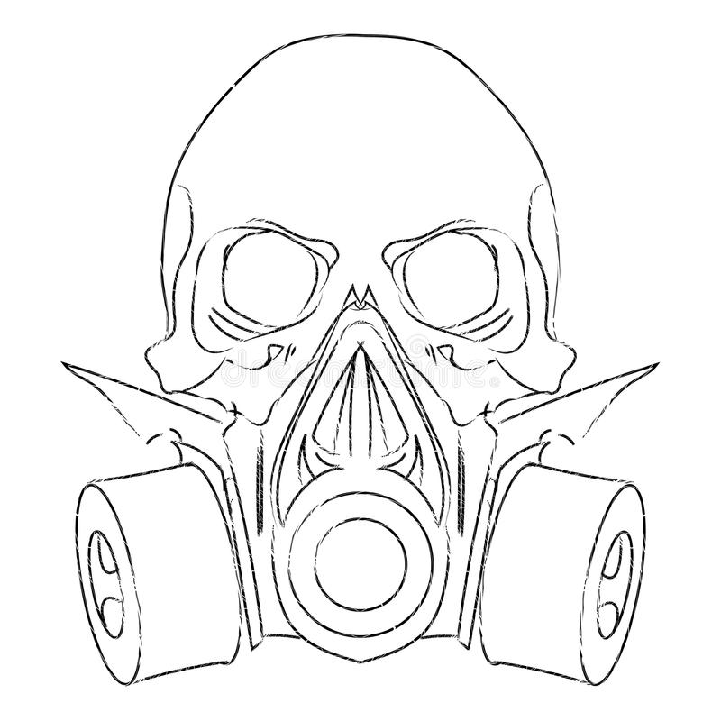 Vector punk steampunk lineart Skull with gas mask.  stock illustration
