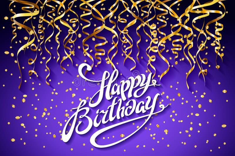 Vector purpere partijachtergrond Het gelukkige Ontwerp van de Verjaardagsviering, Vector gouden confettienelementen, het Malplaat vector illustratie