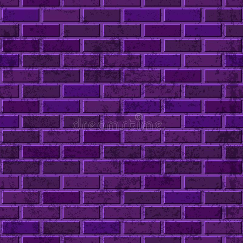 Vector purple brick wall seamless texture. Abstract architecture and loft interior violet background royalty free illustration