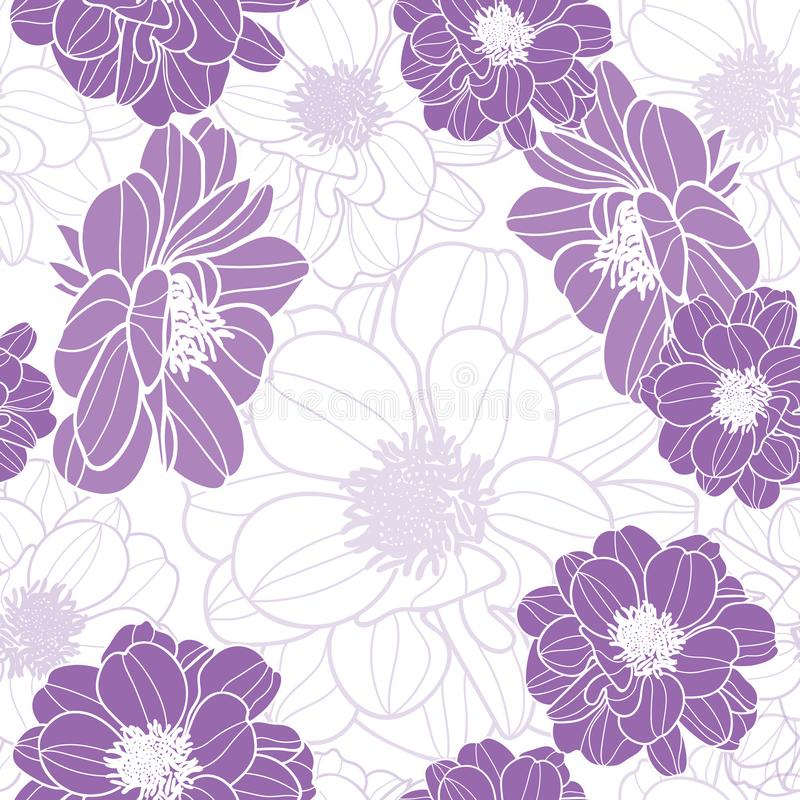 Vector purple flowers with white background seamless repeat pattern. Vector purple flowers seamless repeat pattern. great for retro fabric, wallpaper stock illustration