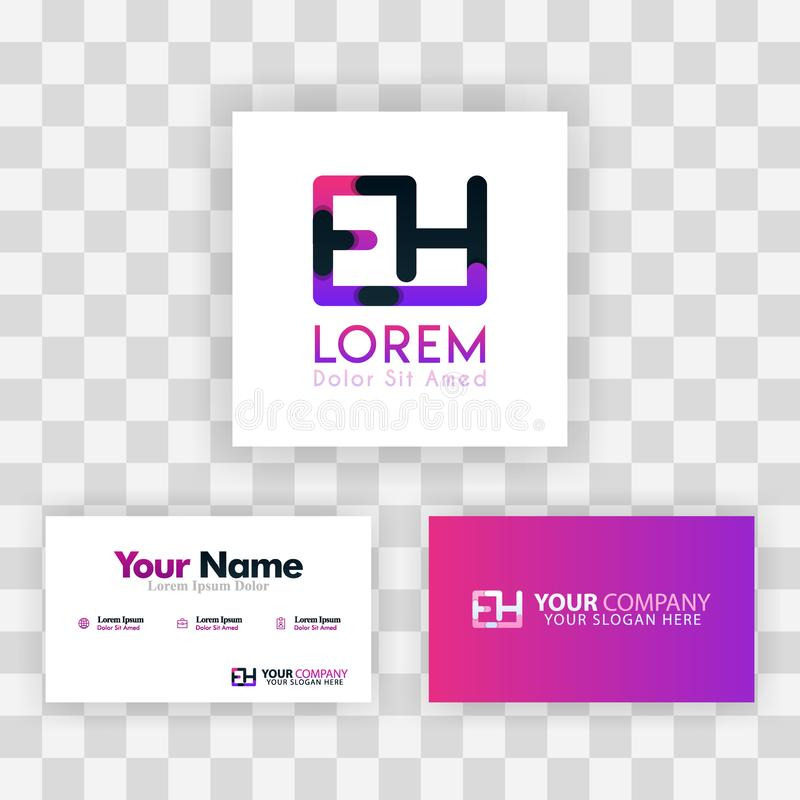 Vector Purple Modern Creative. Clean Business Card Template Concept. HE Letter logo Minimal Gradient Corporate. EH Company Luxury. Logo Background. Logo E for stock illustration