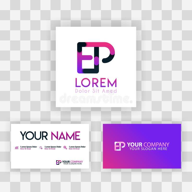 Vector Purple Modern Creative. Clean Business Card Template Concept. PE Letter logo Minimal Gradient Corporate. EP Company Luxury vector illustration