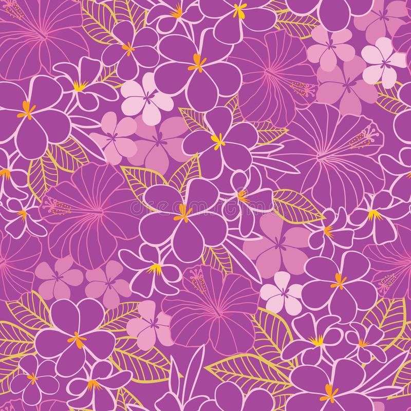 Vector purple and pink tropical flowers hibiscus and frangipani seamless pattern background. Perfect for fabric, scrapbooking, royalty free illustration