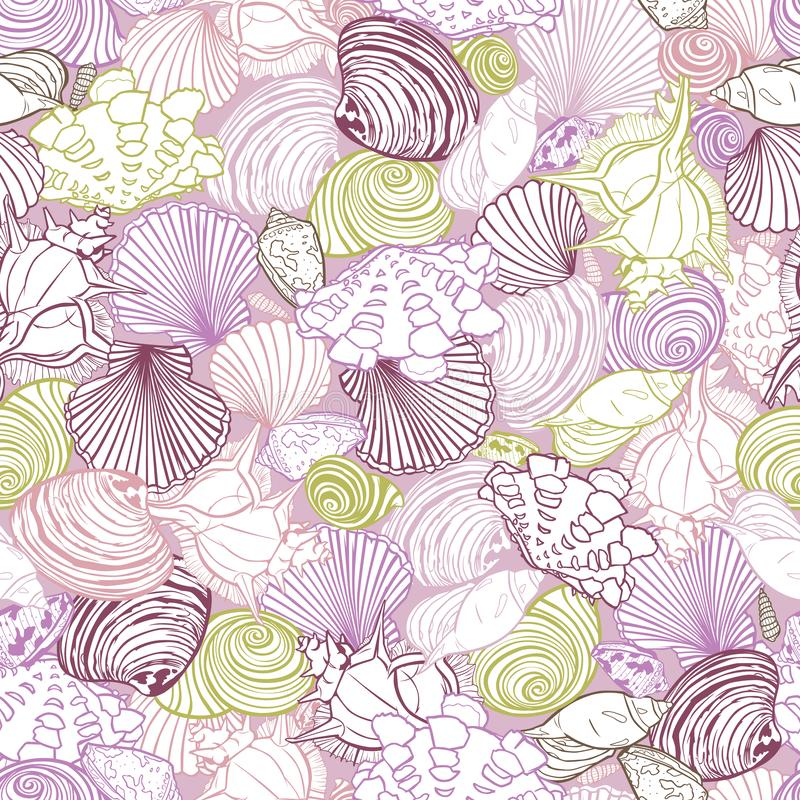 Vector purple repeat pattern with variety of overlaping seashells. Romantic pink theme. Perfect for fabric, scrapbooking vector illustration