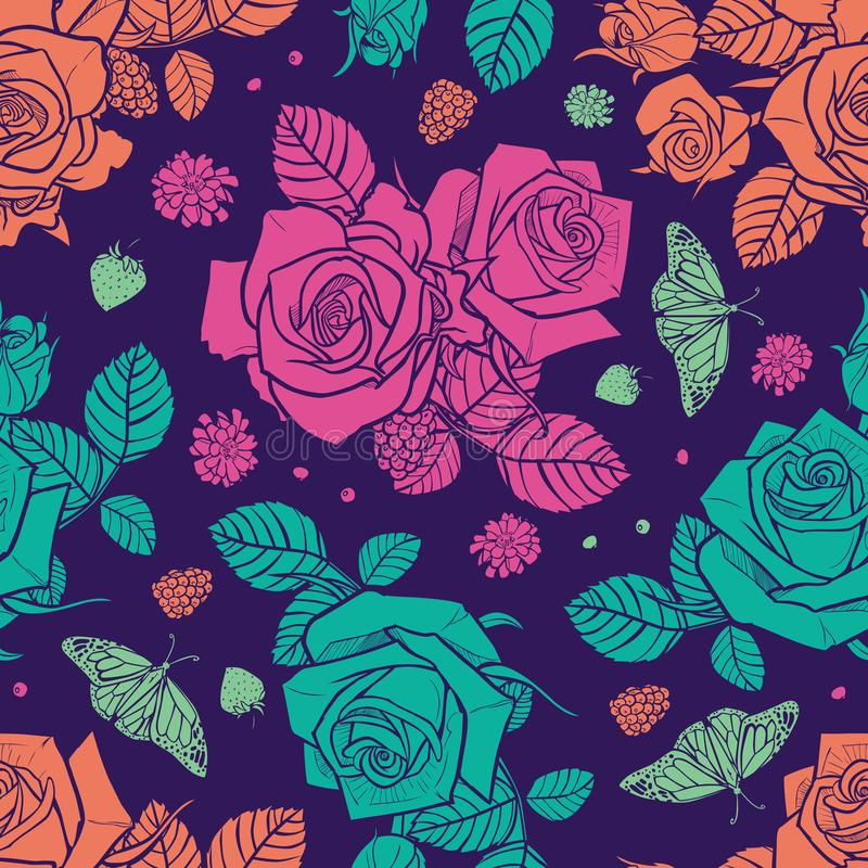 Vector purple roses and berries seamless pattern. Colorful neon flowers with dark background. Perfect for fabric royalty free illustration