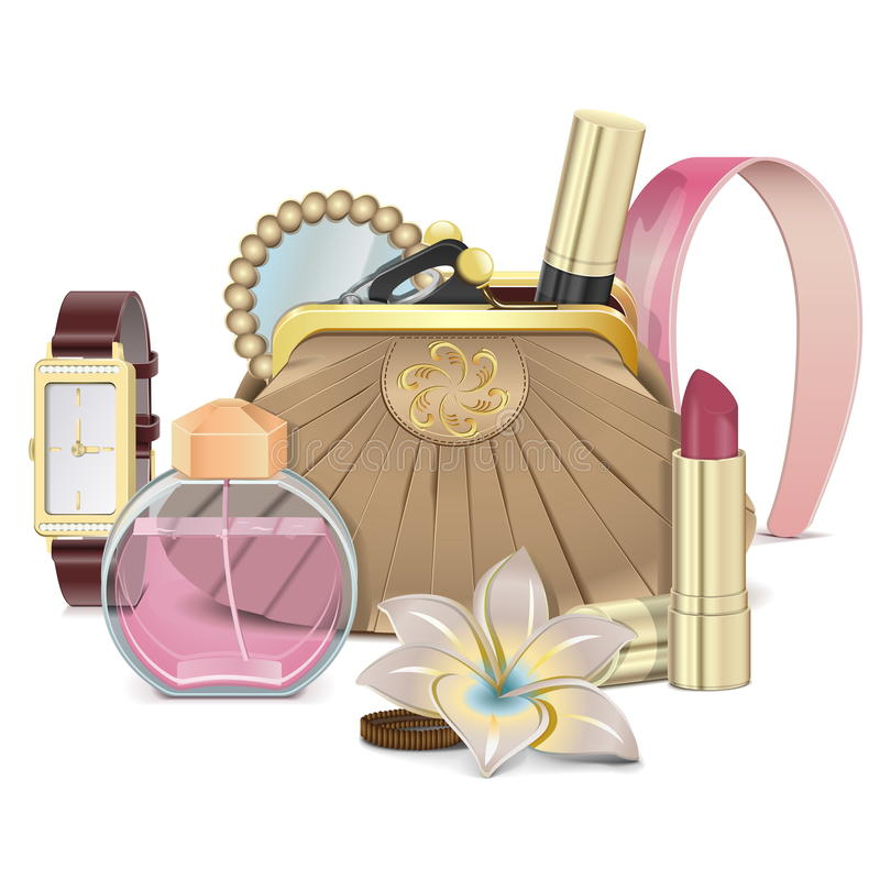 Vector Purse with Accessories. On white background