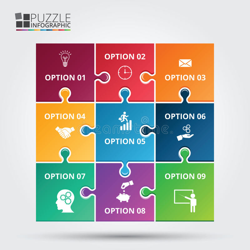 Vector puzzle infographic. stock illustration