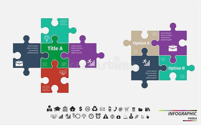 Vector puzzle infographic. Template for diagram stock illustration