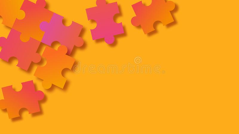 Abstract orange puzzle background vector illustration