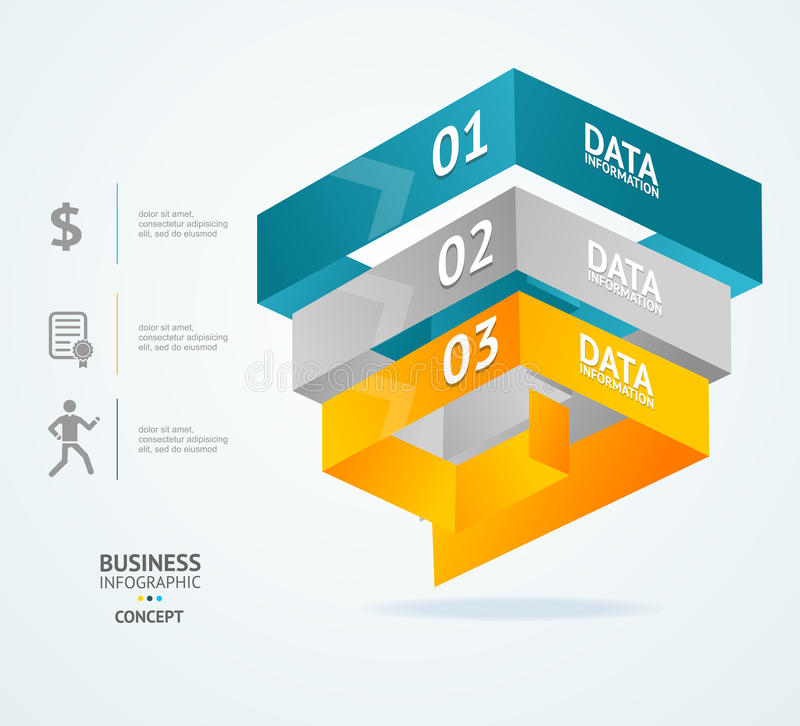 Vector Pyramid chart for infographics design royalty free illustration