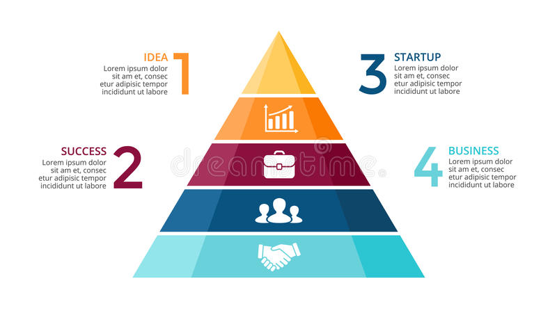 Vector pyramid up arrows infographic, diagram chart, triangle graph presentation. Business timeline concept with 4 royalty free illustration