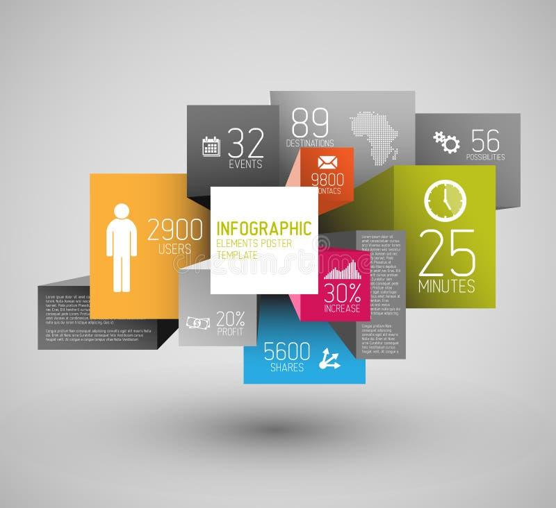 Vector quadrados abstratos e cuba a ilustração do fundo/molde infographic ilustração stock