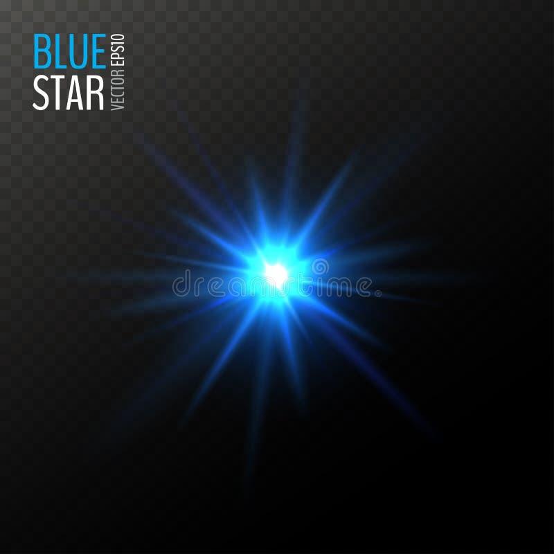 Vector que brilla la estrella azul ilustración del vector