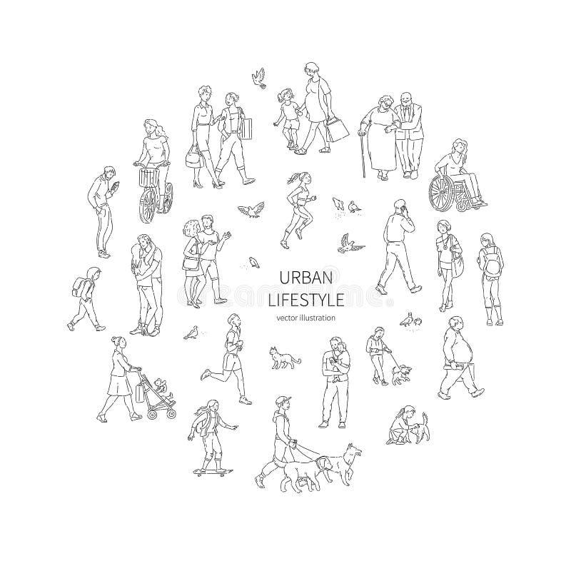 Vector que camina a la muchedumbre urbana Niños y palomas de la gente de los adultos y otros caracteres en una línea negro del cí libre illustration