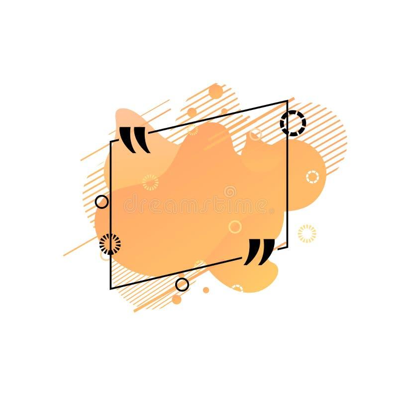 Vector que cita la plantilla de la caja, formas abstractas líquidas coloridas anaranjadas, fondo geométrico del modelo, marco de  stock de ilustración