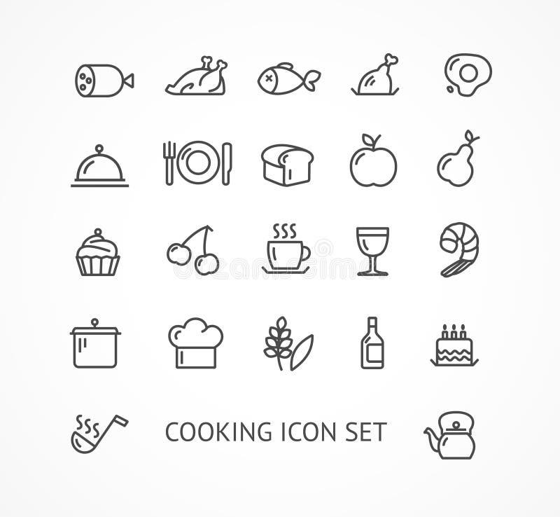 Vector que cocina el sistema del icono del esquema ilustración del vector