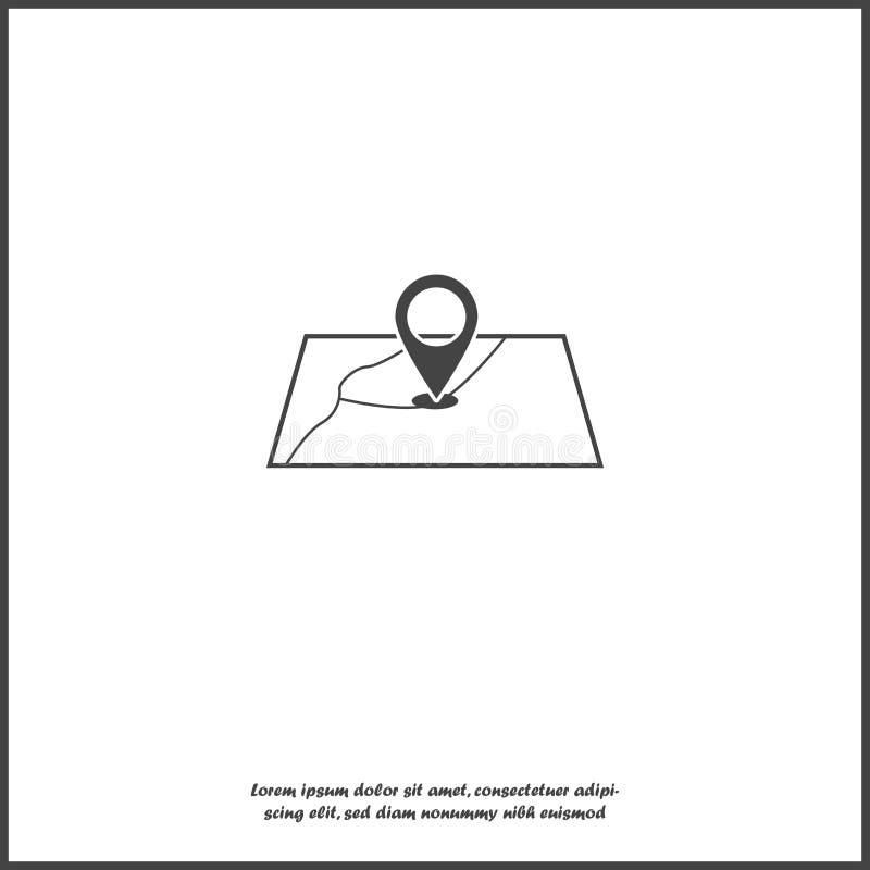 Vector que coloca el icono Geolocation localización Una marca en el mapa en el fondo aislado blanco libre illustration