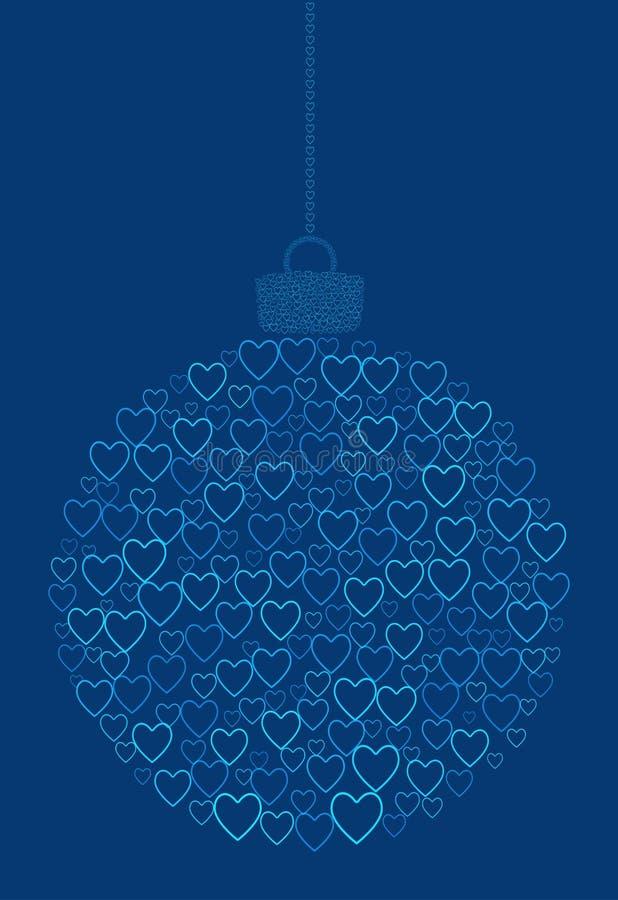 Vector que cuelga la bola abstracta de la Navidad que consiste en la línea iconos del corazón en fondo azul stock de ilustración