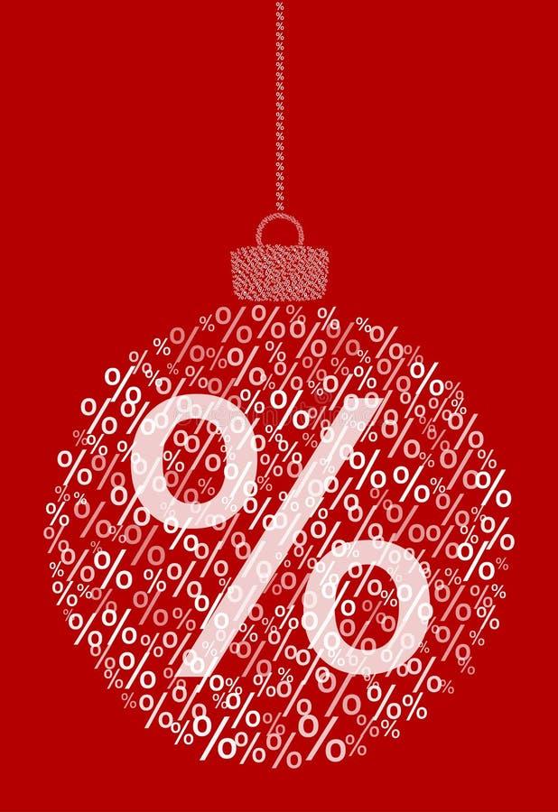 Vector que cuelga la bola abstracta de la Navidad que consiste en los iconos de la muestra del por ciento, venta en fondo rojo libre illustration