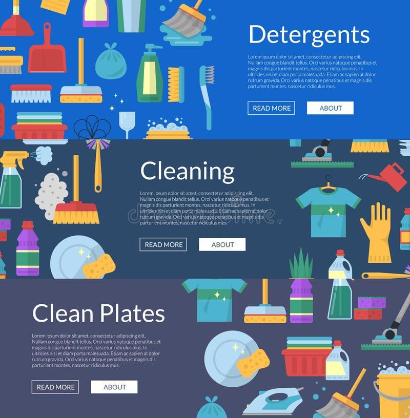 Vector que limpia el ejemplo plano de las banderas del web de los iconos stock de ilustración