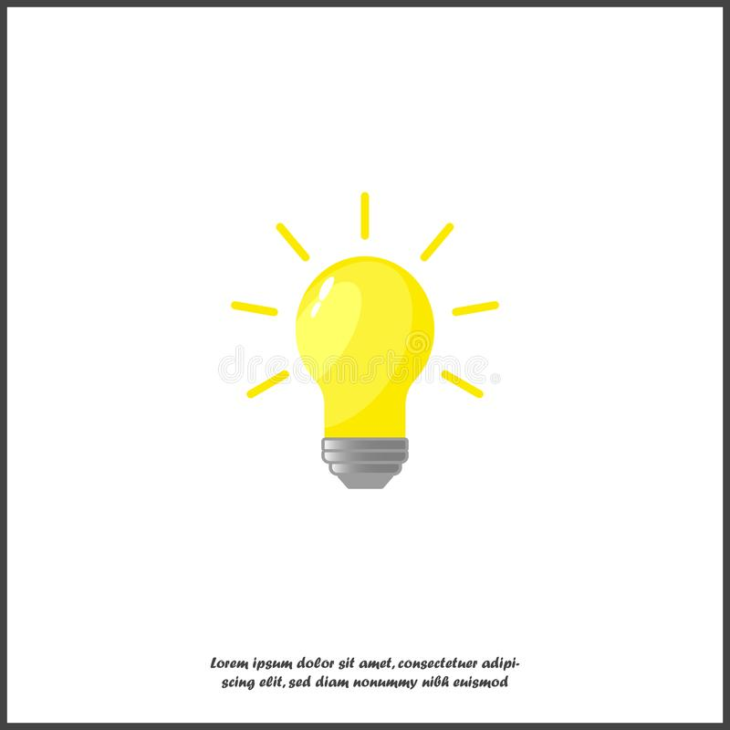 Vector que quema la bombilla De la lámpara los rayos de la luz ámbar brillante divergen Símbolo de los pensamientos, ideas, icono ilustración del vector