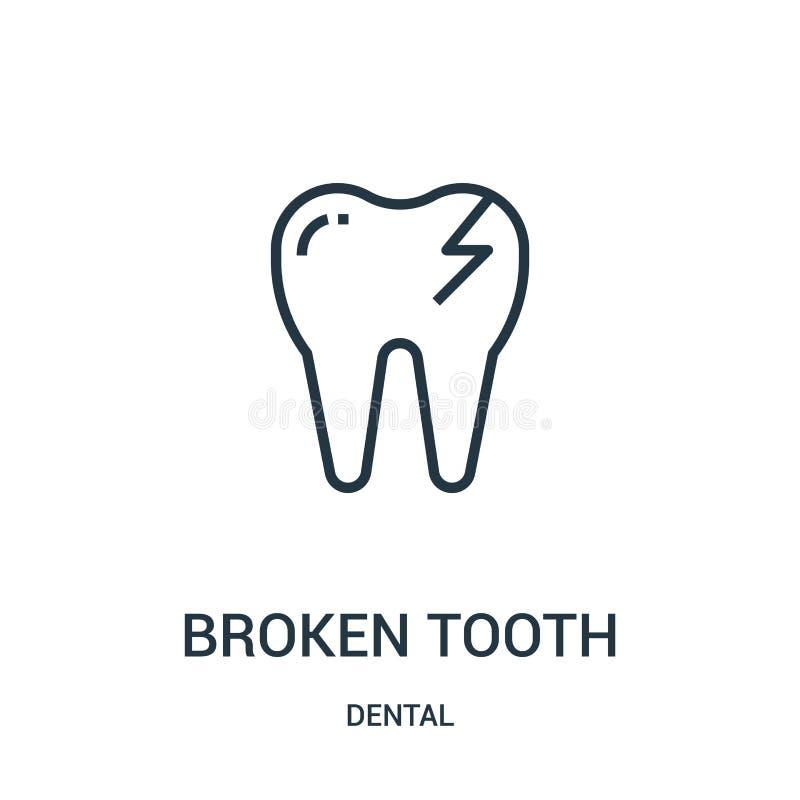 vector quebrado del icono del diente de la colección dental Línea fina ejemplo quebrado del vector del icono del esquema del dien ilustración del vector