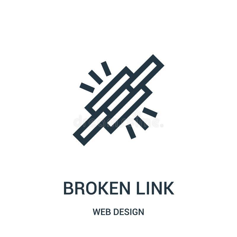 vector quebrado del icono del vínculo de la colección del diseño web Línea fina ejemplo quebrado del vector del icono del esquema libre illustration