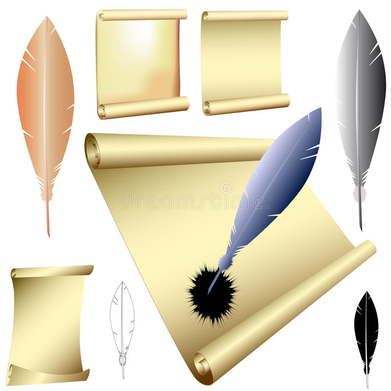 Download Vector Quills And Scrolls Stock Photo - Image: 23882580