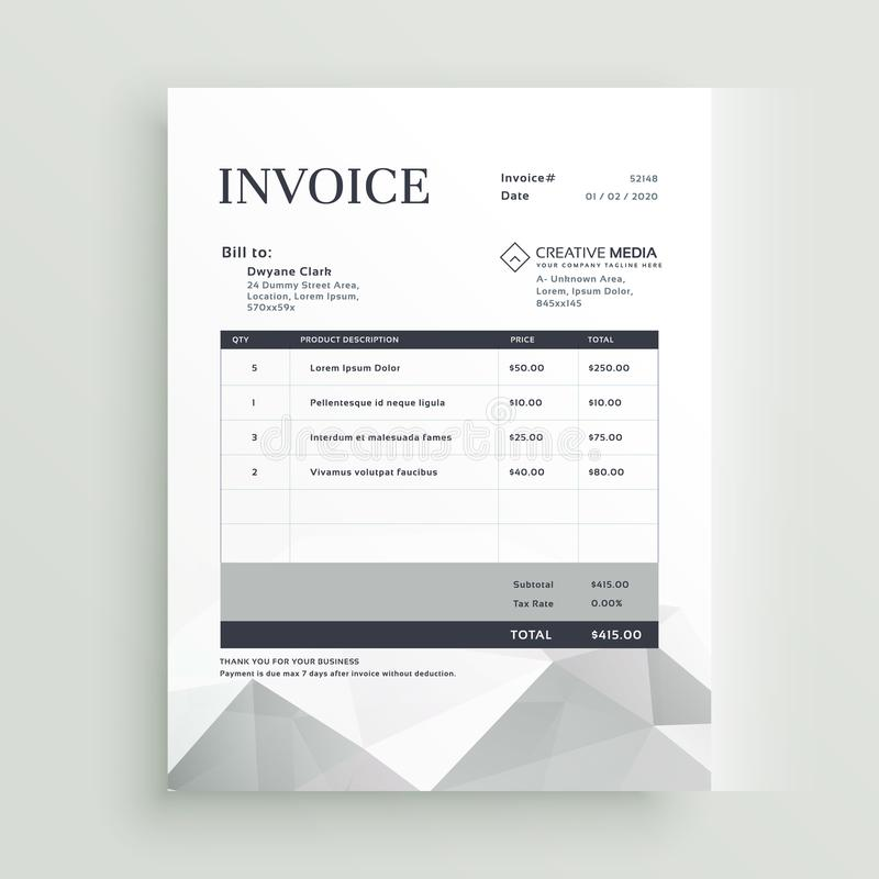 Vector Quotation Invoice Template Design Stock Vector Illustration