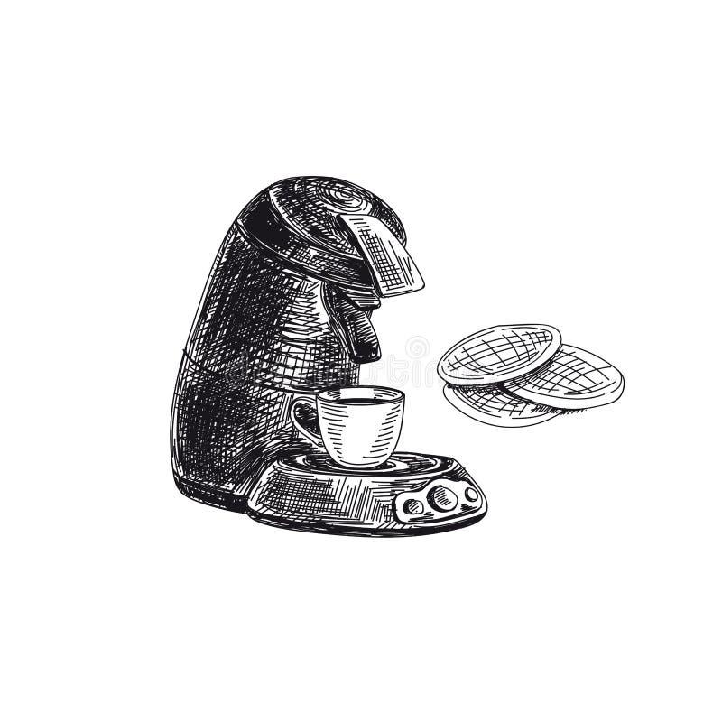 Vector ręcznie rysowany szkic vintage kawy Ilustracja zdjęcie royalty free
