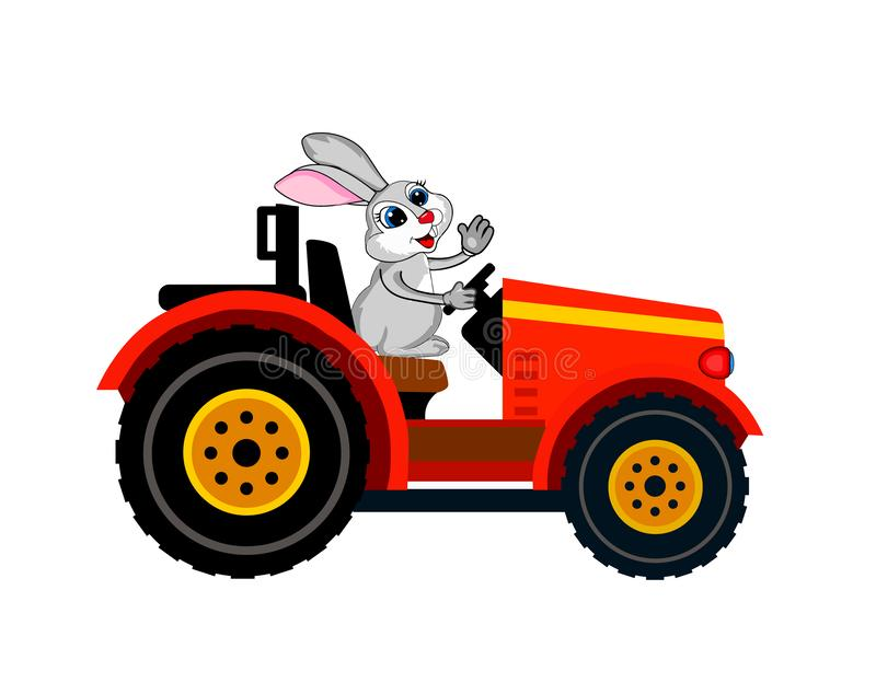 Vector.rabbit on a tractor. The image of a cute rabbit who decided to master the role of the driver on the tractor royalty free illustration