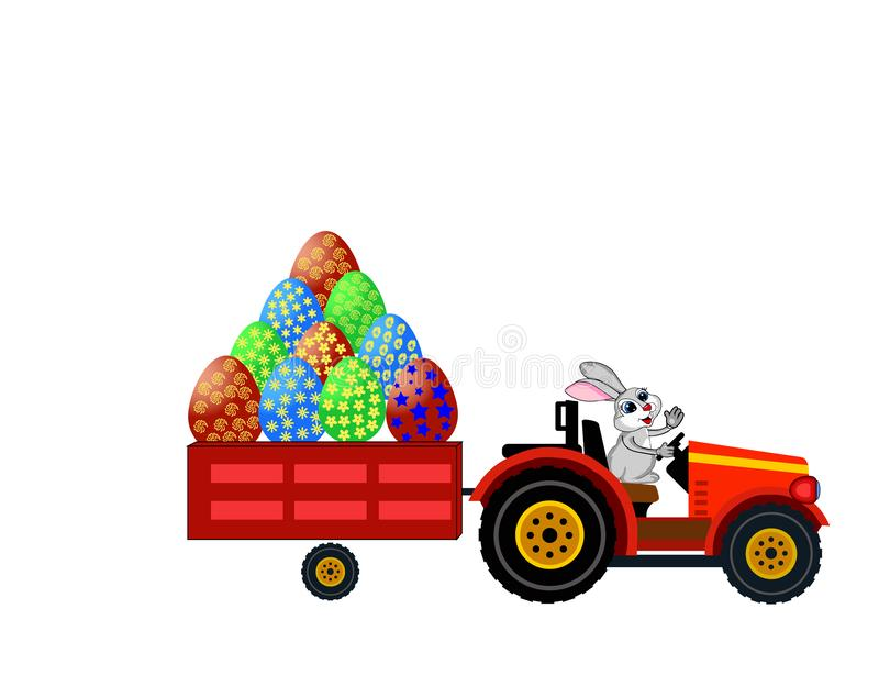 Vector.rabbit on a tractor. The image of a cute rabbit who decided to master the role of the driver on the tractor vector illustration
