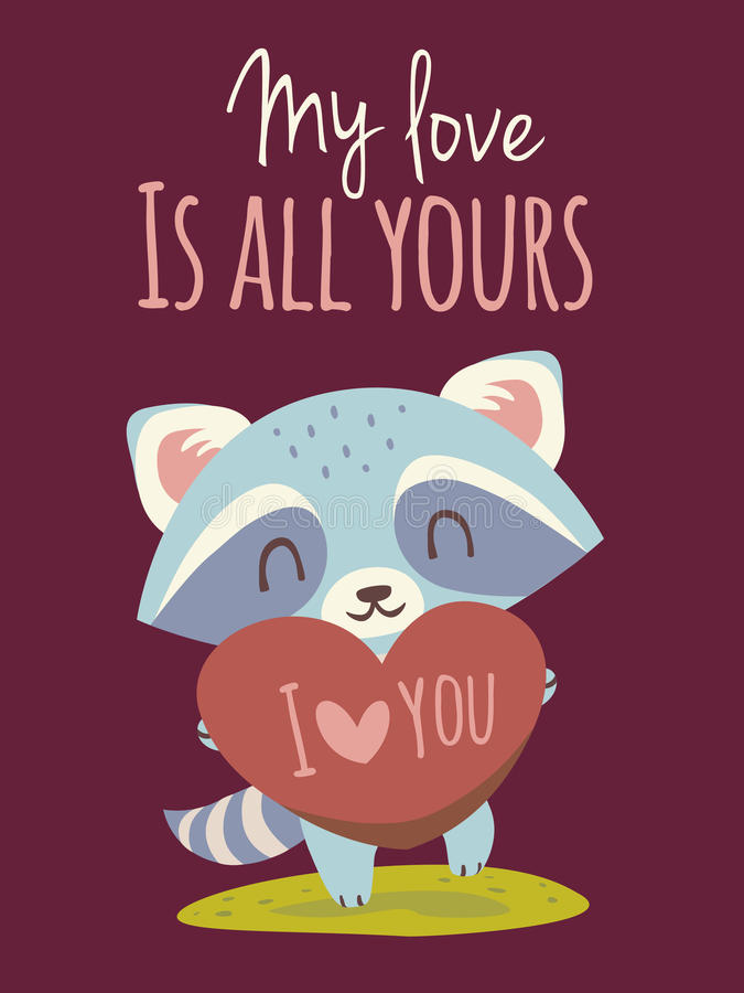 Vector raccoon with heart greeting card stock image