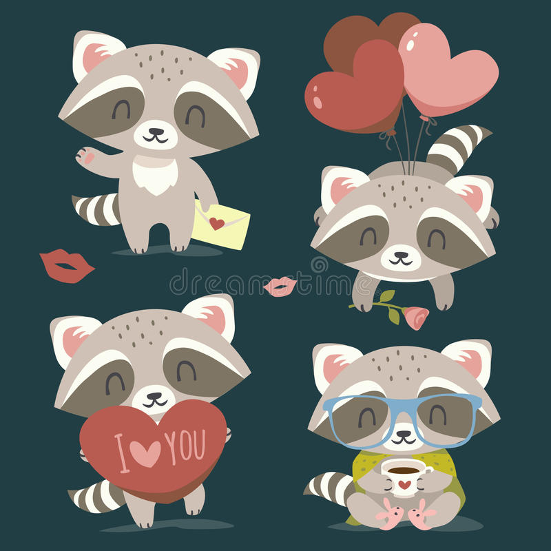 Vector raccoon with heart set stock image