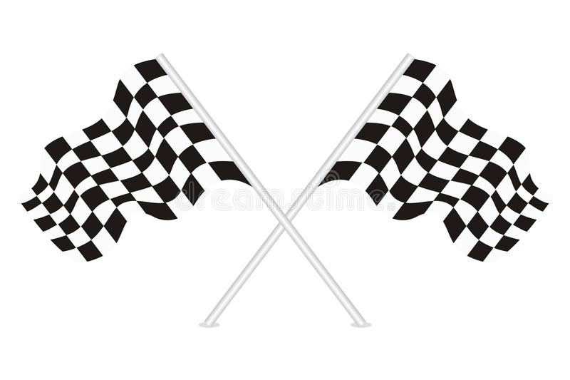 Vector of racing flags. Vector racing flags with white isolated background stock illustration