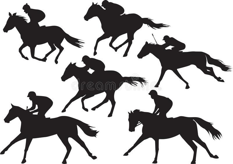 Vector Of Racing Horses With Jockeys Stock Illustration